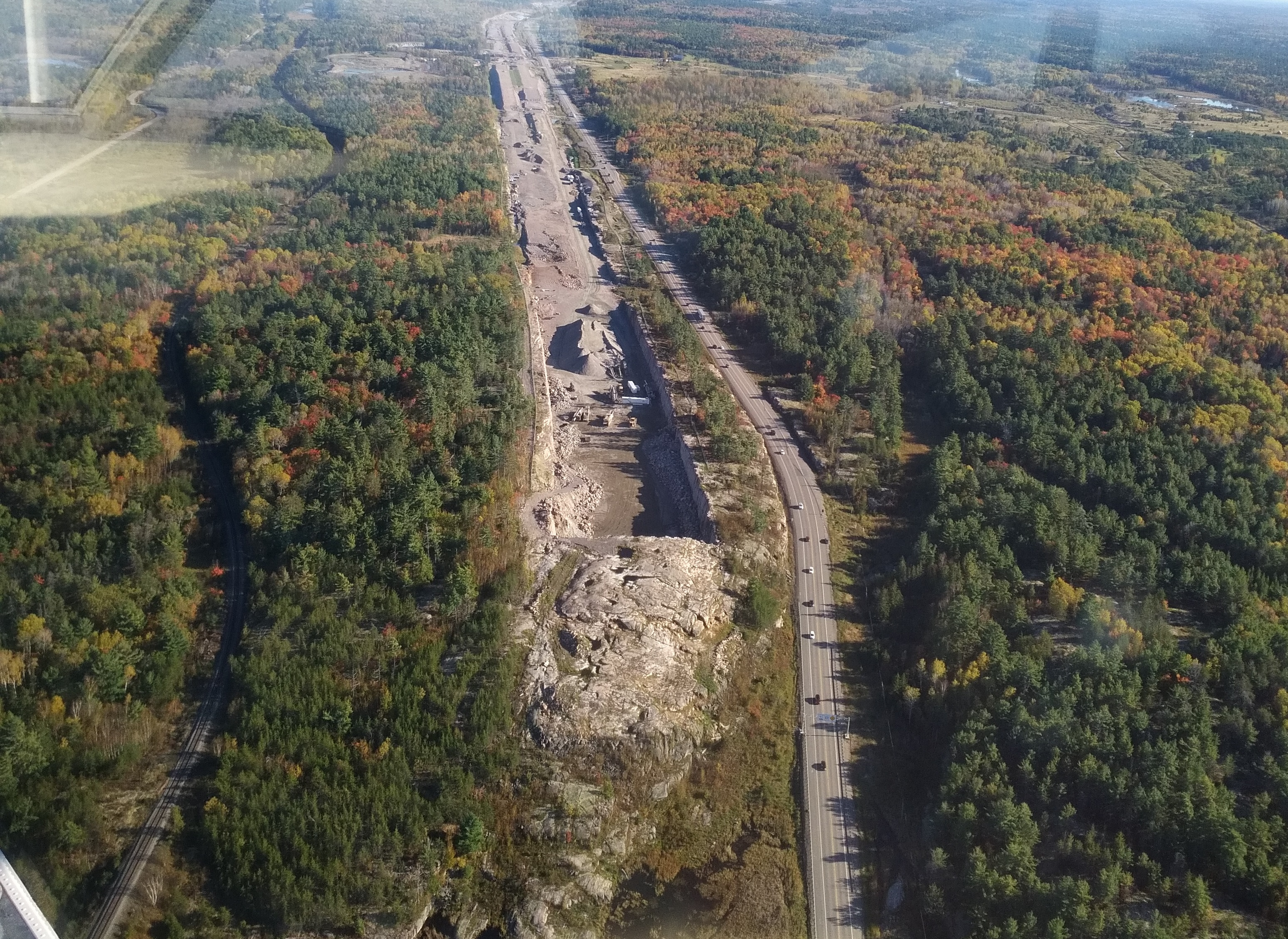road construction aerial view