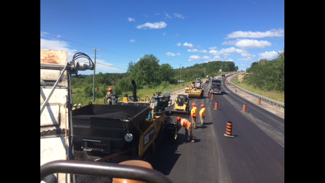 view of asphalt paving highway project