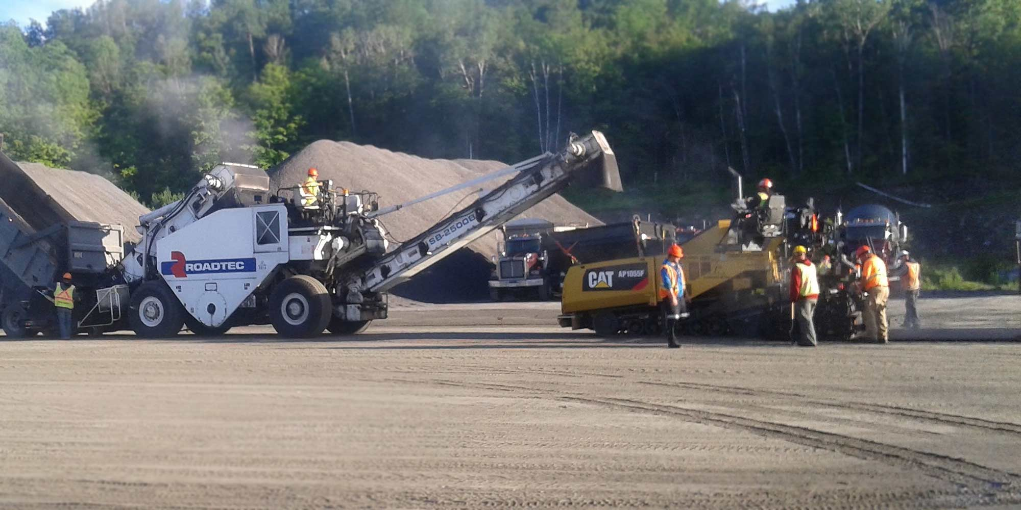 asphalt paving road construction crew